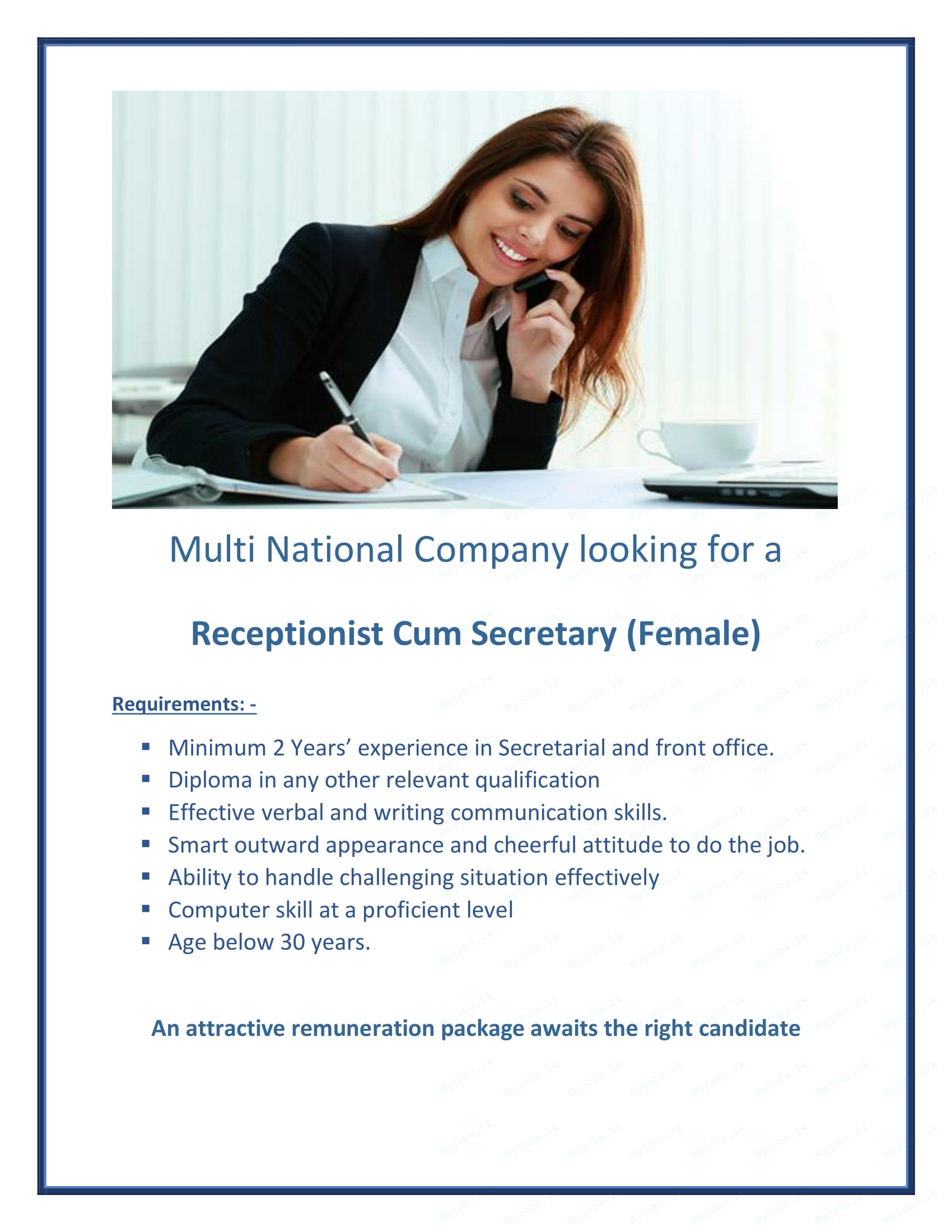 Receptionist cum Secretary (Female)