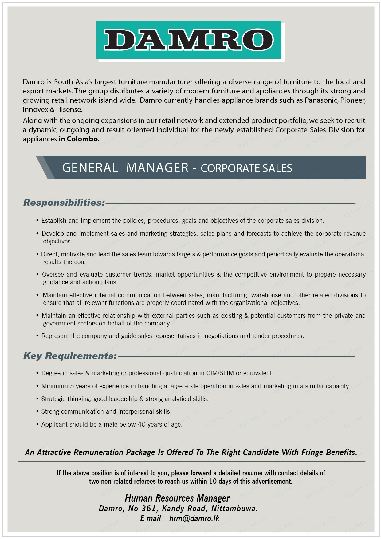 General Manager - Corporate Sales